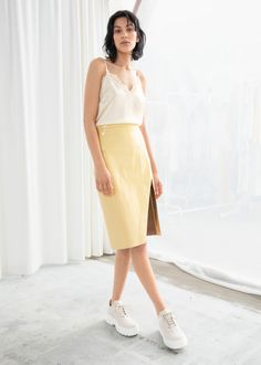 Leather Midi Pencil Skirt - Yellow - Leather skirts - & Other Stories Yellow Leather Skirt, Real Leather Skirt, Leather Midi Skirt, Pencil Skirt Outfits, Silk Slip, Fashion Story, A Line Skirts, Ready To Wear, High Waisted Skirt