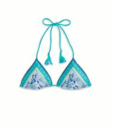 AE Vintage Printed Triangle Bikini Top