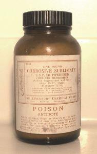 mercury bichloride. 1920s poison.
