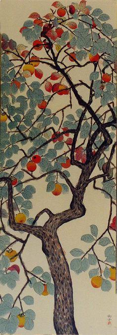 Persimmon / 柿, Hayami Gyoshū. / 速水 御舟. Japanese (1894 - 1935) my dream bedroom would be centered around this, same color scheme with dark wood