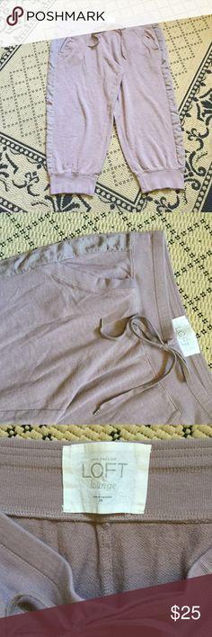 🆕 Cute Dusty Rose Capris 🌸🐭🍄 BRAND NEW! 100% Cotton Dusty Rose Pink Lounge Jogger Capri Pants. Elastic Cuffs and Waist with Shoelace Detail. Pockets! Ann Taylor LOFT Size Medium LOFT Pants Capris