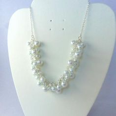 White pearl and crystal necklace,  heavy pearl necklace, bridal jewelry on #Zibbet