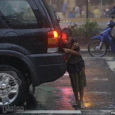 Homeless kid in Winter in Aleppo, Syria.
