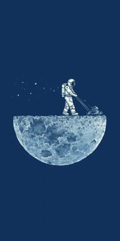 #Minimalism #Moon #astronaut #Lawn mower. High resolution (1920x1080) wallpaper of this image available at www.mindblowingpi...