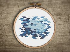 modern geometric cross stitch pattern  retro triangle by futska