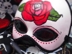 Rojo Rose Mask Day of the Dead by effigymasks on Etsy, $85.00