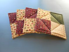 Quilted Coasters Dark Red, Green and Beige fabrics/Set of Four by RubysQuiltShop on Etsy
