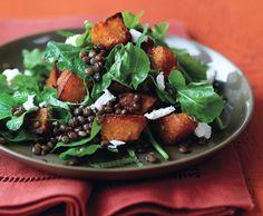 More PUMPKIN: Spiced Pumpkin, Lentil, and Goat Cheese Salad Recipe #fallfavorites #eatseasonally #salad