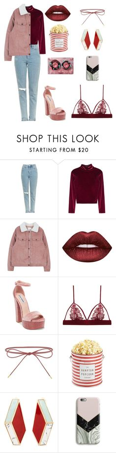"""pink red street style"" by anastasiasmnv on Polyvore featuring мода, Topshop, Lime Crime, Steve Madden, Fleur of England, Elizabeth and James, The Hampton Popcorn Company, Eshvi, CASSETTE и Harper & Blake"