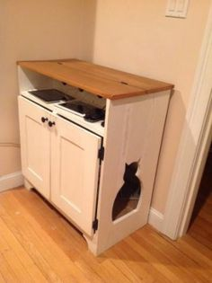 If you have a cat chances are you get tired of looking at the litter box. Now you can build this litter box cabinet that will also charge your phone