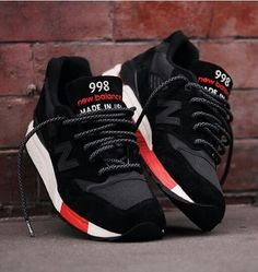 #Newbalance 998 black and red. Love everything about theses but what really gets me...are the laceses. #simplicity #details