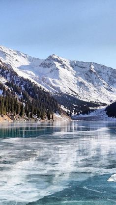 Winter lake, Almaty, Kazakhstan