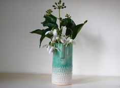 Hand built  bud vase with happy face Atelier Stella