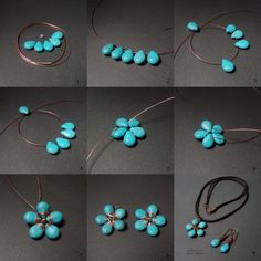 Tutorial DIY Wire Jewelry Image Description Flower Stones with wire. Wire Jewelry Tutorials by Maria T Campos Wire Crafts, Bead Crafts, Jewelry Crafts, Jewelry Ideas, Jewelry Websites, Jewelry Trends, Jewelry Supplies, Jewelry Stores, Wire Wrapped Jewelry