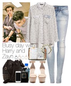 """Busy day with Harry and Zayn"" by style-857 ❤ liked on Polyvore featuring Pull&Bear, H&M, Zara, Chanel, Peek and Charlotte Russe"