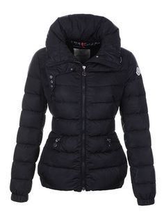 Moncler Epine Jackets For Womens Windproof Collar Zip Black 46473ae3485