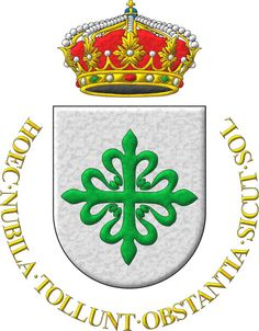 Alcántara Cavalry Regiment: Argent, a Cross of Alcántara. Crest: An royal Crown Or closed with eight arches. Motto: «Hoec nubila tollunt obstantia sicut sol».
