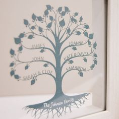 Personalised Framed Mini Family Tree Papercut
