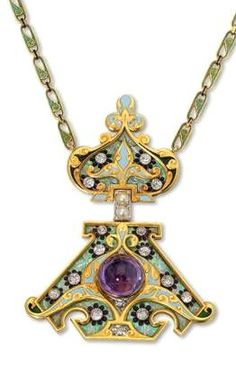 Gem set enamel and gold pendant of Russian influence by René Lalique