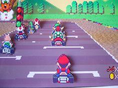 Super Mario Kart 3D Shadow Box Diorama Kunst von 33miniatures