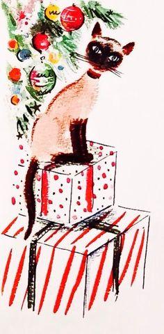 Retro Christmas Card. Vintage Christmas card. Christmas Kitten.