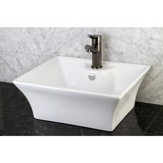 Add a unique element to your bathroom with this attractive china vessel sink that blends in well with any decor. The white sink, suitable for above-the-counter use, features pretty curved sides and a pre-drilled hole for easier faucet installation.
