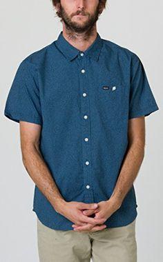 RVCA Mens Transistor Short Sleeve Shirt, Mallard Blue, Medium
