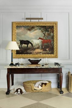 Traditional Equestrian Art - The Glam Pad - The Kentucky Derby is Saturday, and I have horses on my mind. I have always loved equestrian - Design Entrée, Home Design, Interior Design, English Country Decor, Equestrian Decor, Equestrian Style, Equestrian Bedroom, Elegant Homes, Decoration