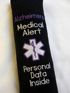Alzheimers Awareness, Medical Alert Seat Belt Cover, Car Accessory, Medical Alert Seat Belt, Seat Belt Wrap, Medical Information Tag, by SewGoodbyDolores on Etsy