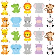 Safari Baby Animals Clipart / Jungle Animals Clipart / Zoo Animals Clipart - acrylbilder safari kinder - Home Safari Party, Safari Jungle, Jungle Party, Party Animals, Safari Animals, Animal Party, Wild Animals, Baby Zoo, Baby Baby