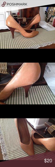 "Leather heels Camel color Brazilian heels stacked 4"" studs tastefully done gently worn Shoes Heels"