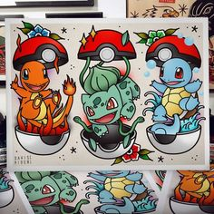 Your place to buy and sell all things handmade - flash sheet for Pokemon printed on stipple watercolor paper - Flash Art Tattoos, Tattoo Flash Sheet, Disney Tattoos, Cartoon Tattoos, Halloween Tattoo Flash, Pokemon Tattoo, Draw Pokemon, Tattoo Geek, Arm Tattoo