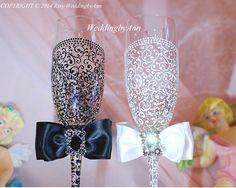 Champagne Glasses Wedding Glasses Wedding toast por WeddingbyAnn