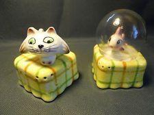 Vintage Salt and Pepper Shakers ~ Cat and Fish Bowl Menschik-Goldman 1960