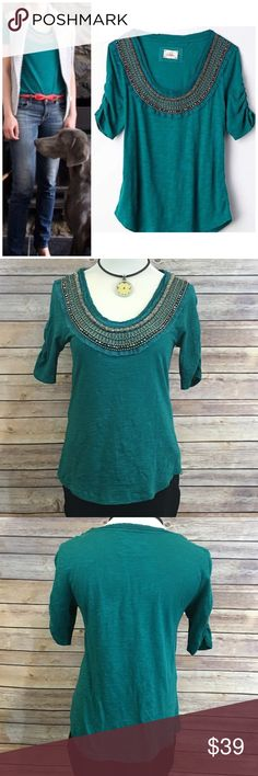 """Anthropologie Deletta Jewelscape Tee Anthropologie Deletta Jewelscape Tee. EUC. Measures pit to pit 17"""" length 21"""". Only flaw is shown in pic 4 bottom row. Barely noticeable Anthropologie Tops"""