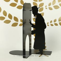 The new version 2017 of the Judaica bookends Orthodox and Hasidic Steel laser cut - Powder Coating Paint.   Height 19 cm.   Design Jacques Lahitte  © Tolonensis Creation