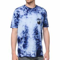 Stussy 8 Ball Blue and Black Tie Dye Tee Shirt