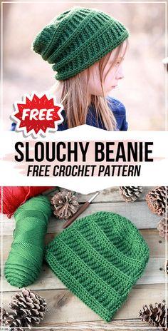crochet Slouchy Beanie free pattern - easy crochet beanie pattern for beginners Crochet Slouchy Beanie Pattern, Beanie Pattern Free, Crochet Adult Hat, Bag Crochet, Crochet Gratis, Crochet Cap, Free Crochet, Kids Crochet Hats Free Pattern, Crochet Hats For Kids