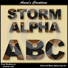 Storm (X-Men) Alphabet Clip Art - Matching numbers also available