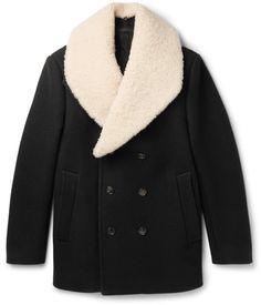 Kent & Curwen Nicholson Shearling-Trimmed Virgin Wool Peacoat