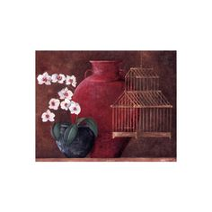 Orchids and Bird-Cage I Wall Art Print ($20) ❤ liked on Polyvore featuring home, home decor, wall art, orchid wall art, birdcage home decor, birdcage wall art and bird cage home decor