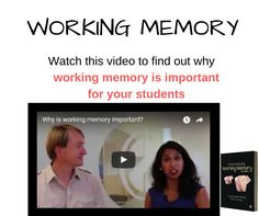 Working memory is a foundational skill in the classroom and when properly supported it can often turn around a struggling student's prospects.  Watch this video to find out more about how important it is to your class.