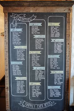 This is awesome but needs to be in ALPHA ORDER!!!!!!!   chalkboard seating chart // photo by Paper Antler