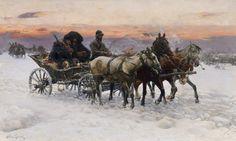 Alfred von Wierusz-Kowalski -     Abendliche Kutschfahrt im Schnee