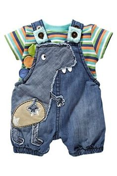 Dinosaur Baby Outfits, Cute Outfits For Kids, Toddler Fashion, Boy Fashion, Baby Boy Dress, Trendy Baby Clothes, Stylish Boys, Baby Kind, Baby Sewing