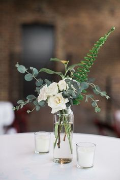 minimalist greenery wedding centerpieces wedding centerpieces 15 Minimalist Elegant Wedding Centerpiece Ideas for 2020 Trends - Oh Best Day Ever Green Centerpieces, Greenery Centerpiece, Rustic Wedding Centerpieces, Wedding Flower Arrangements, Centerpiece Ideas, Simple Wedding Decorations, Eucalyptus Centerpiece, Flower Table Decorations, Flowers On Table