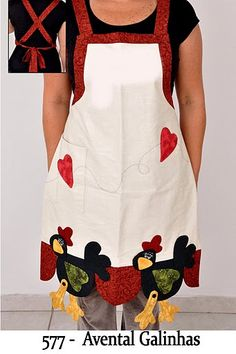 No instructions but a great idea Fabric Crafts, Sewing Crafts, Sewing Projects, Sewing Aprons, Sewing Clothes, Cool Aprons, Chickens And Roosters, Kitchen Aprons, Aprons Vintage