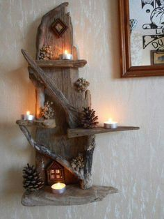 Wonderful DIY projects you can do with driftwood - Diy Projekt - Wonderful DIY projects you can do with driftwood projects Driftwood Shelf, Driftwood Projects, Driftwood Furniture, Driftwood Ideas, Deco Originale, Home Candles, Diy Candles, Wood Creations, Nature Crafts