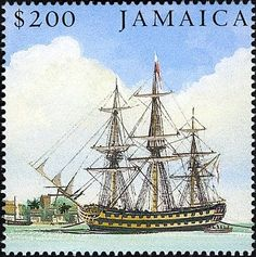 Stamp: HMS Africa at Port Royal (Jamaica) (Bicentenary of the Battle of Trafalgar issue)) Mi:JM Ship Paintings, Port Royal, Postage Stamps, Sailing Ships, Postcards, Caribbean, Battle, Africa, Island