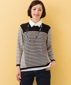 JANE MORE L(大きいサイズ)(ジェーンモアエル)のスパークナイロンコットンコード ニット(ニット/セーター)|ベージュ系1